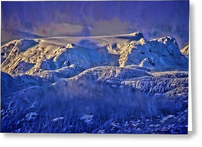 Winter Storm Greeting Cards - Windstorm on Comox Glacier Greeting Card by Richard Farrington