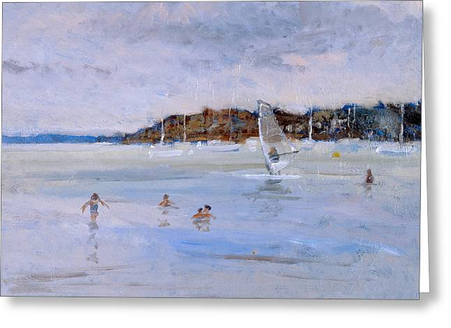 Windsurfer And Bathers Greeting Card by Christopher Glanville