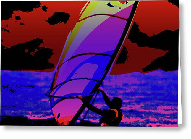 Windsurfer Greeting Card by Brian Roscorla