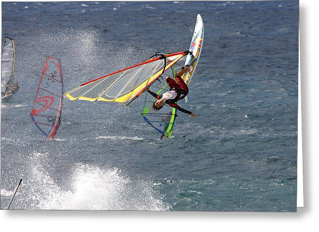 Windsurfer Greeting Cards - Windsurfer getting airtime at Hookipa Maui Hawaii Greeting Card by Pierre Leclerc Photography