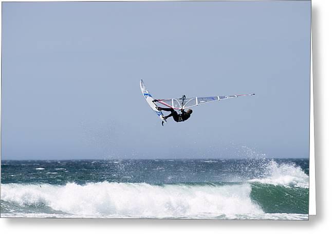 30-35 Years Greeting Cards - Windsurfer Jumping Waves At Jalama Greeting Card by Rich Reid