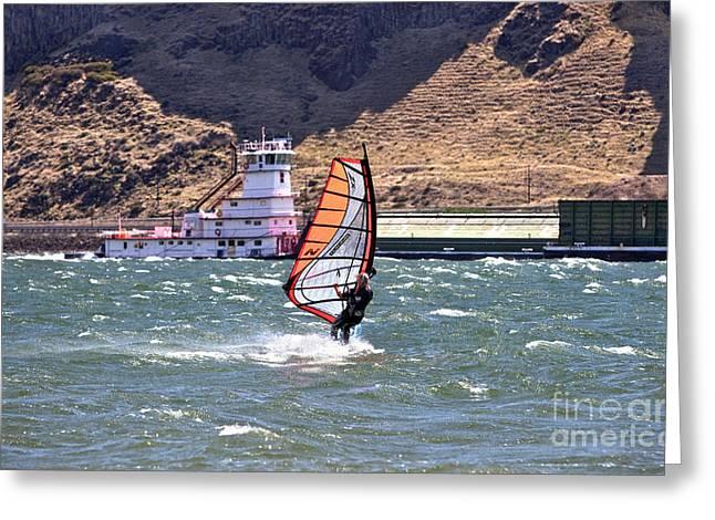 Windsurfer Greeting Cards - Windsurfer On Columbia River Greeting Card by Inga Spence
