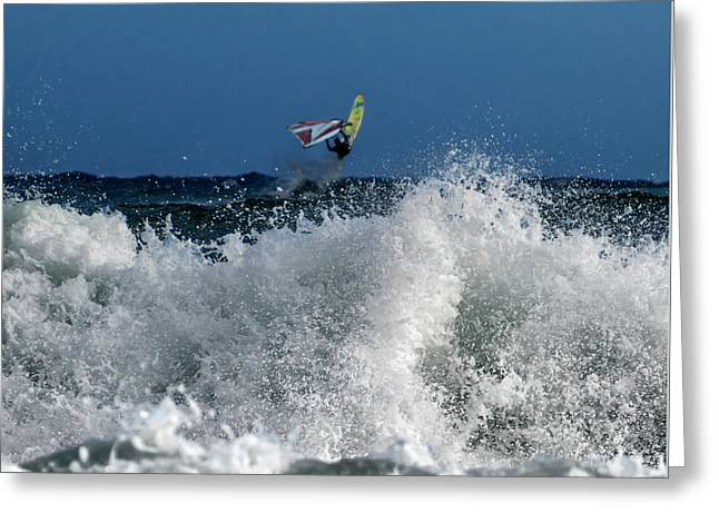 Windsurfer Greeting Card by Stelios Kleanthous