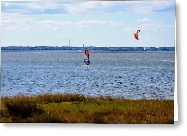 Kiteboarding Greeting Cards - Windsurfing  2 Greeting Card by Lanjee Chee
