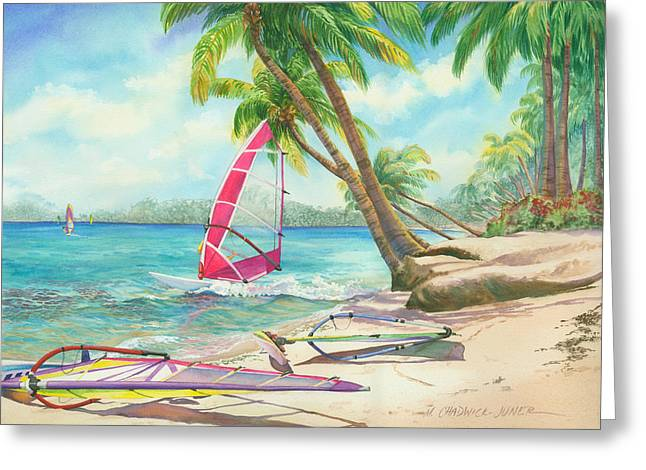 Windsurfer Greeting Cards - Windsurfing the Tropics Greeting Card by Marguerite Chadwick-Juner