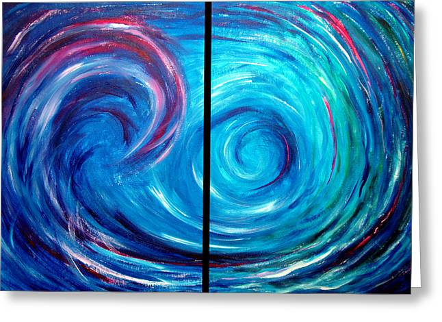 Windswept Blue Wave And Whirlpool 2 Greeting Card by Nancy Mueller