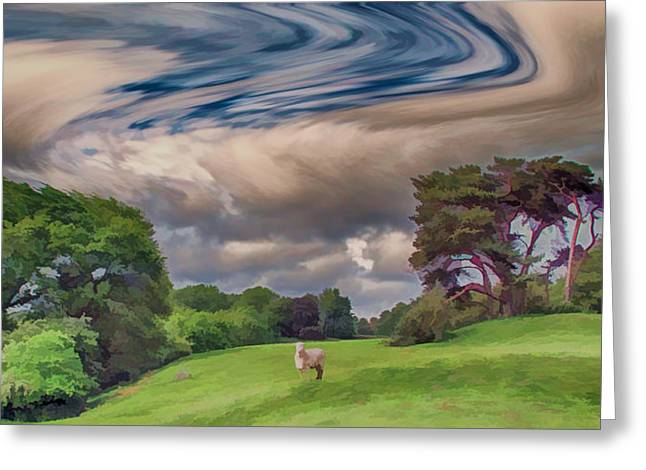 Sheep Digital Art Greeting Cards - Windswept hills Greeting Card by Sharon Lisa Clarke