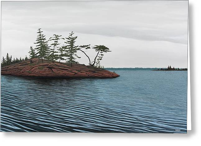 Canoe Paintings Greeting Cards - Windswept Island Georgian Bay Greeting Card by Kenneth M  Kirsch