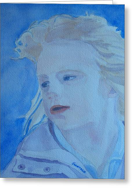 Young Lady Greeting Cards - Windswept Greeting Card by Jenny Armitage