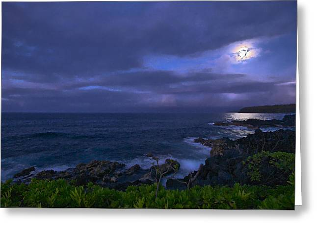 Ocean Shore Greeting Cards - Windward Moonrise #1 Greeting Card by Harry Durgin
