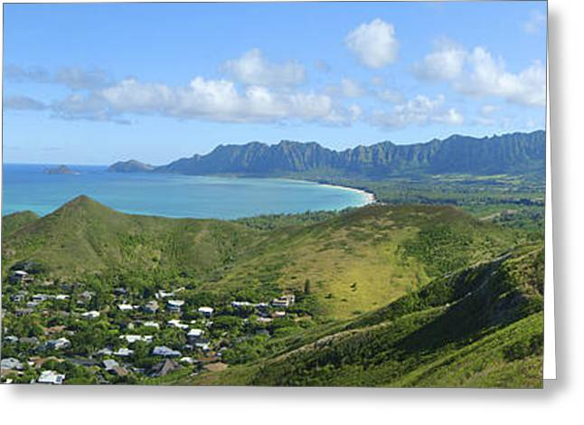 Pastureland Greeting Cards - Windward Oahu Panorama III Greeting Card by David Cornwell/First Light Pictures, Inc - Printscapes
