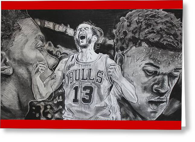 Chicago Bulls Art Drawings Greeting Cards - Windy City Assassins Greeting Card by Brian Sanford