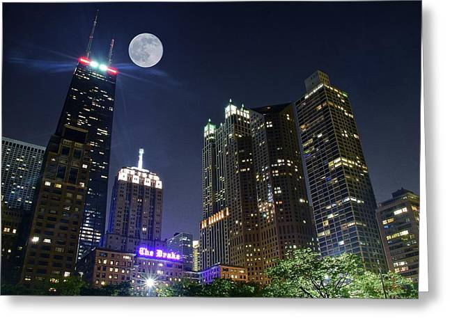 Nightscapes Greeting Cards - Windy City Greeting Card by Frozen in Time Fine Art Photography