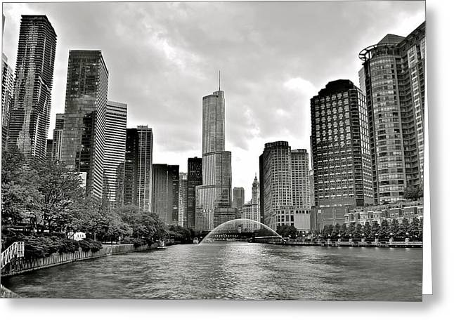 The Bean Greeting Cards - Windy City Grayscale Greeting Card by Frozen in Time Fine Art Photography