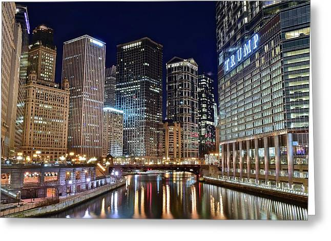 Windy City Lights On The River Greeting Card by Frozen in Time Fine Art Photography