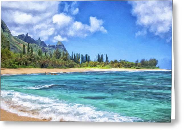 Lahaina Greeting Cards - Windy Day at Haena Beach Kauai Greeting Card by Dominic Piperata