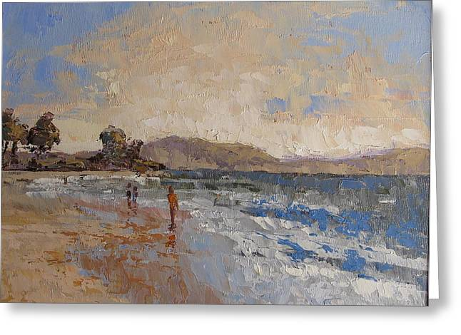 Pallet Knife Greeting Cards - Windy Day at sea Greeting Card by Yvonne Ankerman