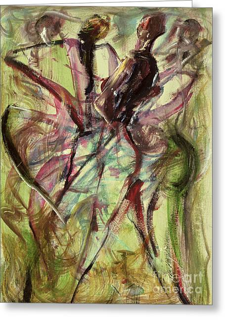Dancer Greeting Cards - Windy Day Greeting Card by Ikahl Beckford