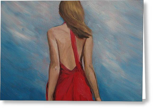 Red Dress Greeting Cards - Windy Day Greeting Card by Jindra Noewi