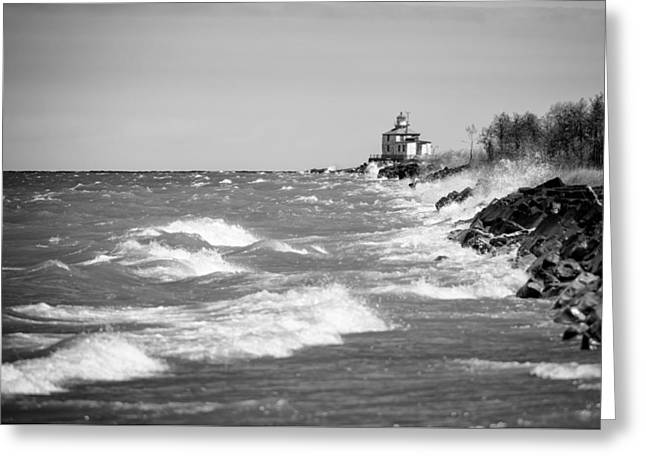 Ocean Sailing Greeting Cards - Windy Day On Lake Erie Greeting Card by Matt Hammerstein