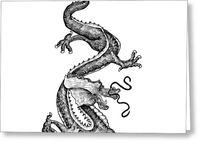 Awesome Drawings Greeting Cards - Windy Dragon Greeting Card by Karl Addison