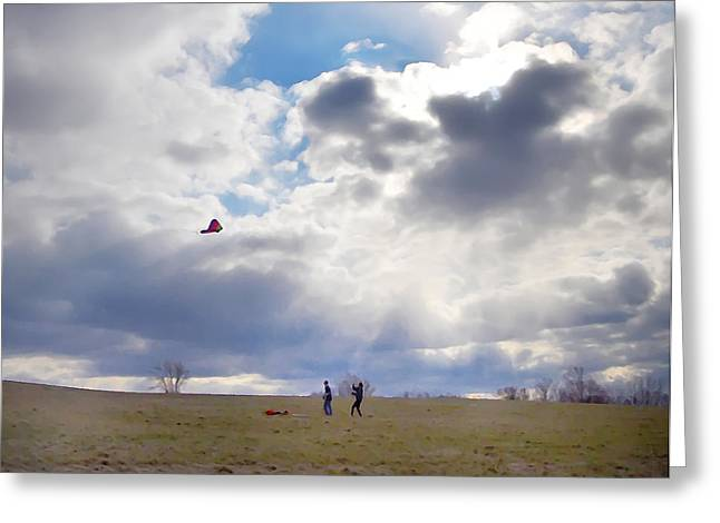 Kite Greeting Cards - Windy Kite Day Greeting Card by Bill Cannon