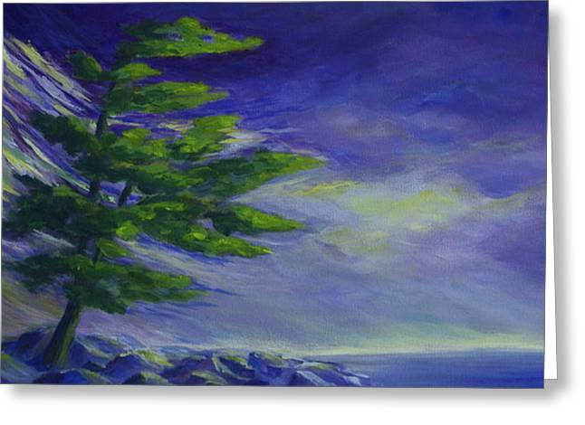 Windswept Paintings Greeting Cards - Windy Lake Superior Greeting Card by Joanne Smoley