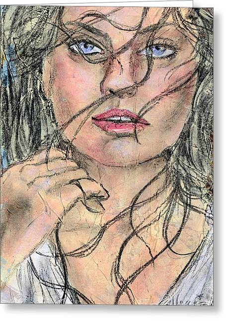 Face Of A Woman Greeting Cards - Windy Greeting Card by P J Lewis