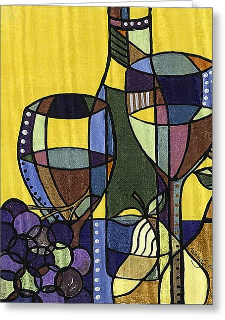 Blue Grapes Greeting Cards - Wine 3 Greeting Card by Wendy Provins
