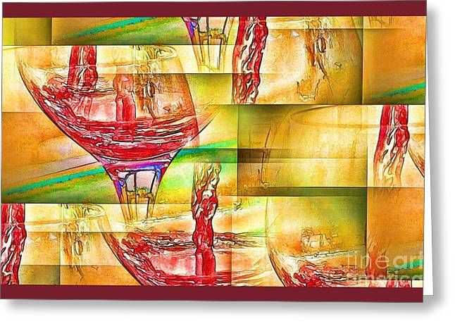 Pouring Wine Greeting Cards - Wine Abstract III Greeting Card by Pamela Blizzard