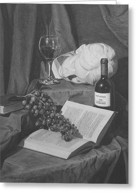 Wine And A Book Greeting Card by Michael Malta