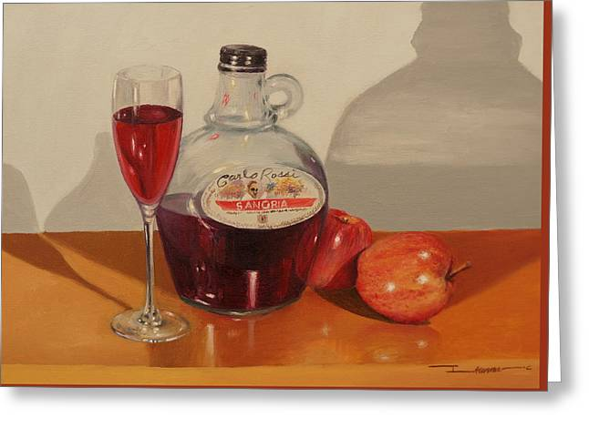 Red Wine Prints Greeting Cards - Wine And Apple Greeting Card by Ikenna Chineme