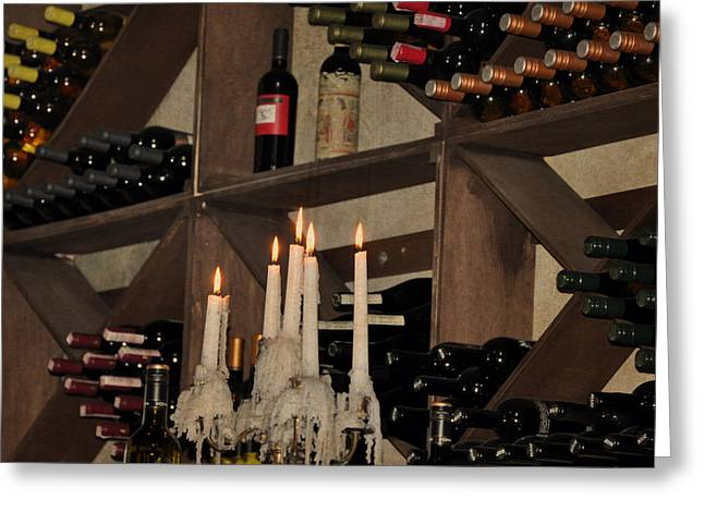 Wine And Candles  Greeting Card by Rose  Hill