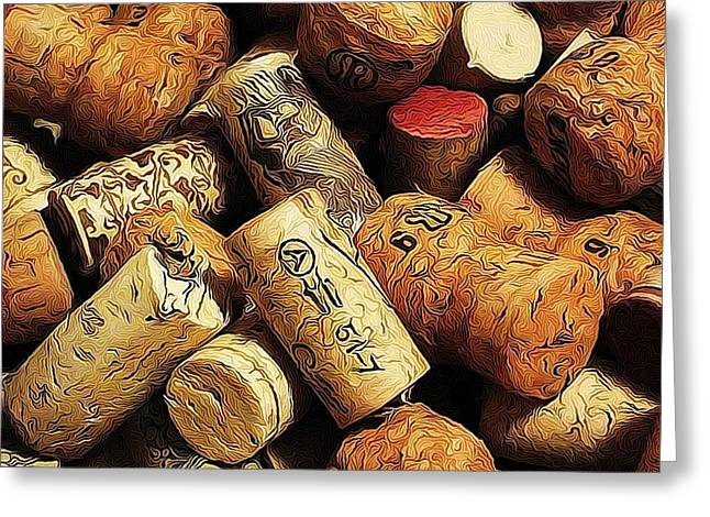 Wine And Champagme Corks Greeting Card by Cathie Tyler