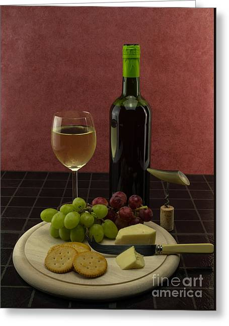 Red Wine Bottle Greeting Cards - Wine And Cheese Greeting Card by F Helm