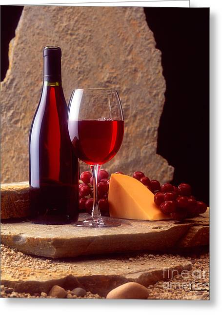 Red Granite Greeting Cards - Wine and Cheese Greeting Card by Vance Fox