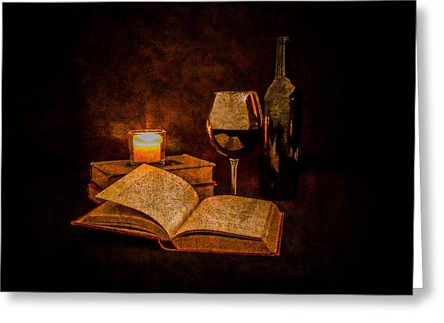 Red Wine And Classics By Candlelight Greeting Card by Erin Cadigan
