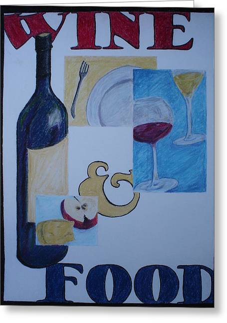 Dinner Pastels Greeting Cards - Wine and Food Greeting Card by Caprice Scott