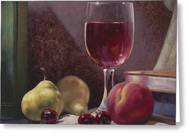 Tabletop Paintings Greeting Cards - Wine and Fruit Greeting Card by Timothy Jones