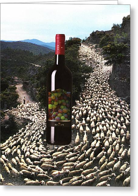 Europe Mixed Media Greeting Cards - Wine and Goats Greeting Card by Francine Gourguechon