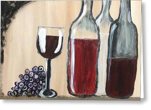 Wine-glass Greeting Cards - Wine and Grapes Greeting Card by Alexandra Smith