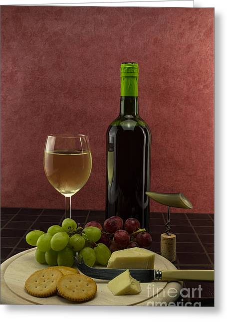 Red Wine Bottle Greeting Cards - Wine and Grapes Greeting Card by F Helm