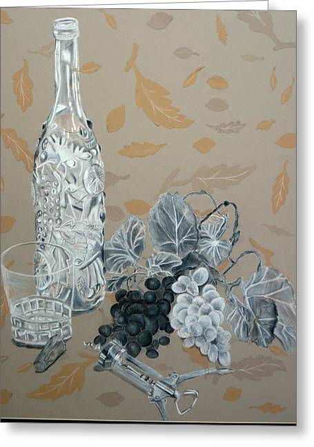 Wine Reflection Mixed Media Greeting Cards - Wine and Grapes Greeting Card by Nicholas Nguyen