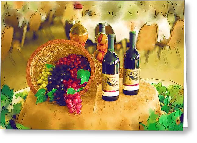 Wine Grapes Digital Art Greeting Cards - Wine and Grapes Greeting Card by Paul Bartoszek