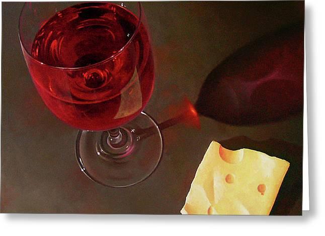 Photorealism Greeting Cards - Wine and Jarlsberg Greeting Card by Timothy Jones