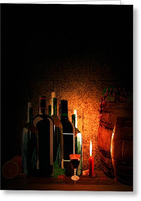 Wine-bottle Digital Greeting Cards - Wine and Leisure Greeting Card by Lourry Legarde