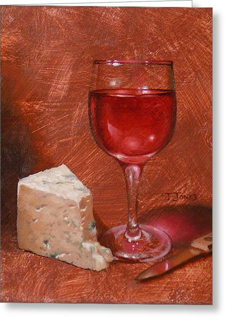 Glass Table Reflection Greeting Cards - Wine and Stilton Greeting Card by Timothy Jones