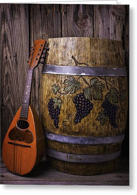 Mandolin Greeting Cards - Wine Barrel With Mandolin Greeting Card by Garry Gay