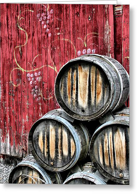 Red Barn Greeting Cards - Wine Barrels Greeting Card by Doug Hockman Photography