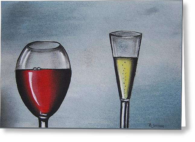 Champagne Glasses Greeting Cards - Wine Greeting Card by Bogumila Johnson
